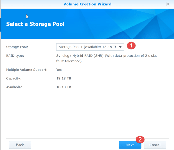 11 storage pool selected for volume