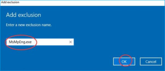 type msmpeng.exe to add antimalware service executable to windows defender