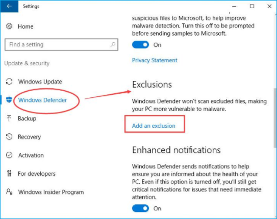 add an exclusion to windows defender to fix the high disk usage