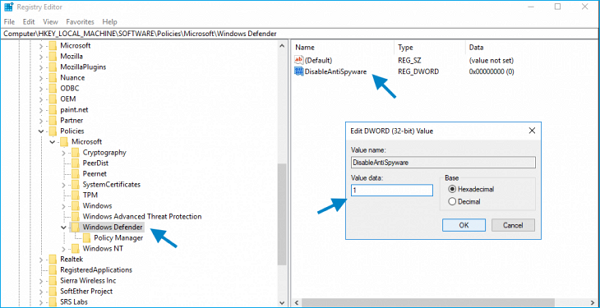 disable windows defender to fix antimalware service executable high disk usage