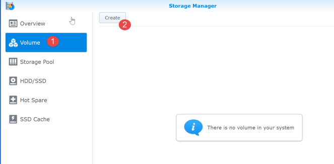 8. crate a volumne ui synology
